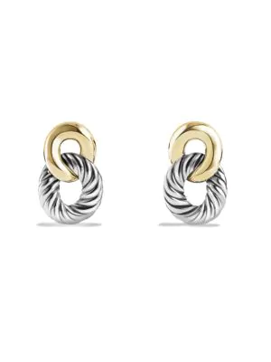 David Yurman Belmont Curb Link Drop Earrings With Gold In Silver-Gold