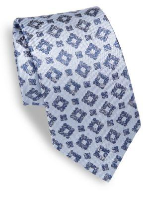 Isaia Geometrical Patterned Silk Tie In Ltblue
