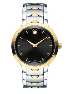 Movado Luno Stainless Steel Analog Bracelet Watch In Silver/ Black/ Gold