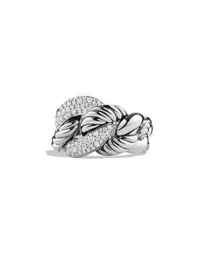 David Yurman Belmont Curb Link Ring With Diamonds In Silver