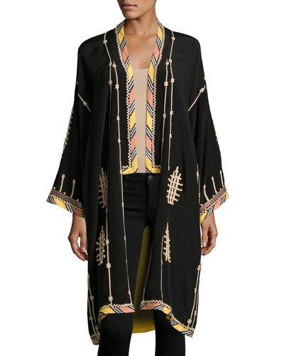 4dd61f9133b EMBROIDERED LONG SILK KIMONO COAT, BLACK. Talitha Collection embroidered  coat with striped border print.