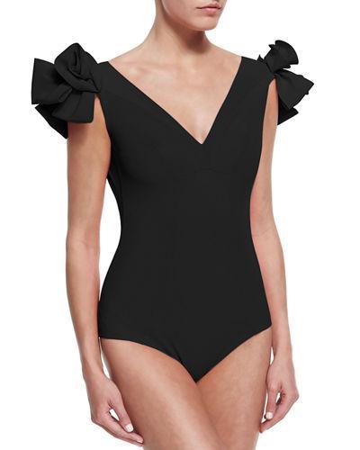 f253aeca1a7e8 La Petite Robe Di Chiara Boni Belvisette V-Neck Two Rose One-Piece Swimsuit