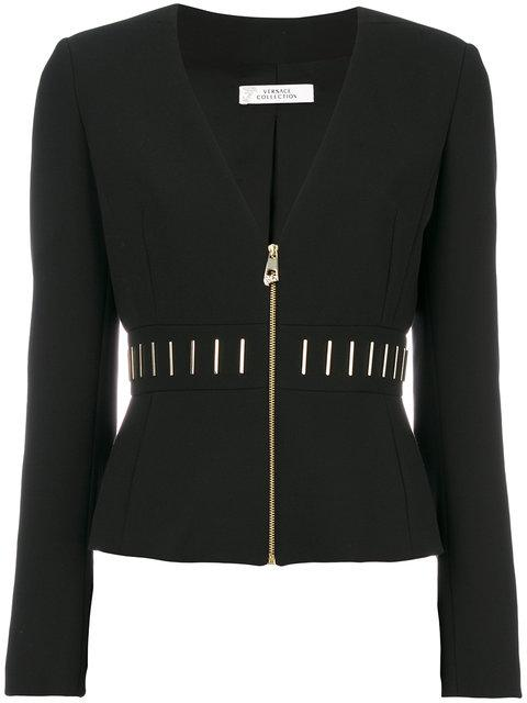 Versace Bar Detail Cady Jacket In Black