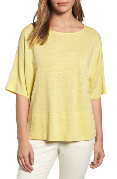 Eileen Fisher Organic Linen Jersey Boxy Top In Grapefruit