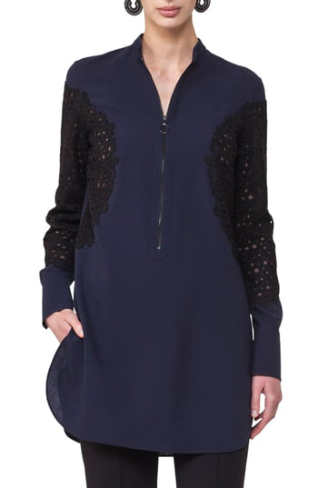Akris Punto Lace Inset Tunic In Navy-black