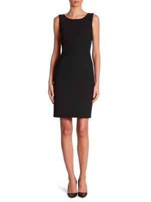 Akris Round-Neck Sleeveless Crepe Sheath Dress In Black