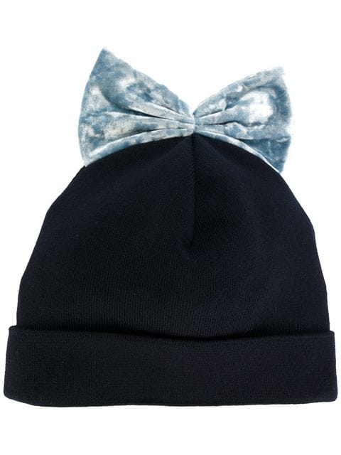 Federica Moretti Bow Embroidered Beanie Hat In Blue
