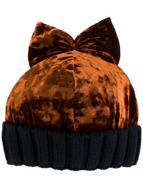 Federica Moretti Velvet & Wool Knit Beanie Hat W/ Bow In Yellow