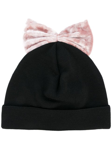 Federica Moretti Pink Velvet Bow Beanie In Black
