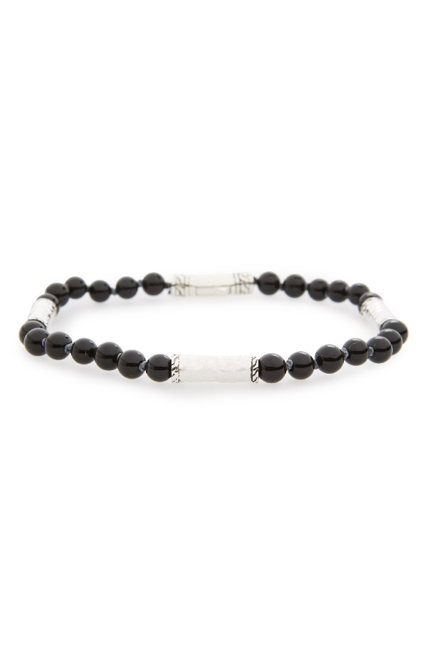 5038d8f0502fec John Hardy Men's Hammered Sterling Silver Classic Chain Station And Black  Onyx Bead Bracelet