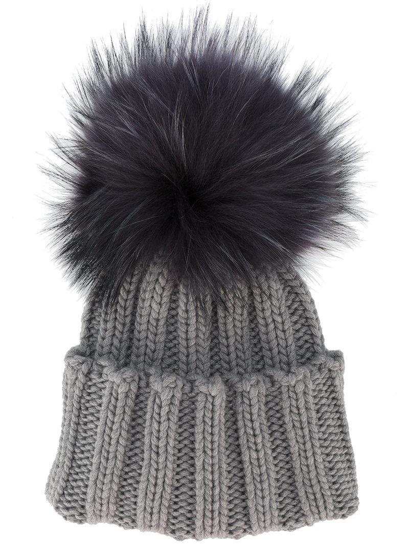 4df7adc2f0e Inverni Grey Wide Ribbed Cashmere Hat With Fur Pom Pom