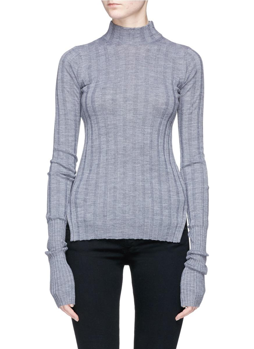 Theory Mock Neck Wool Rib Knit Sweater