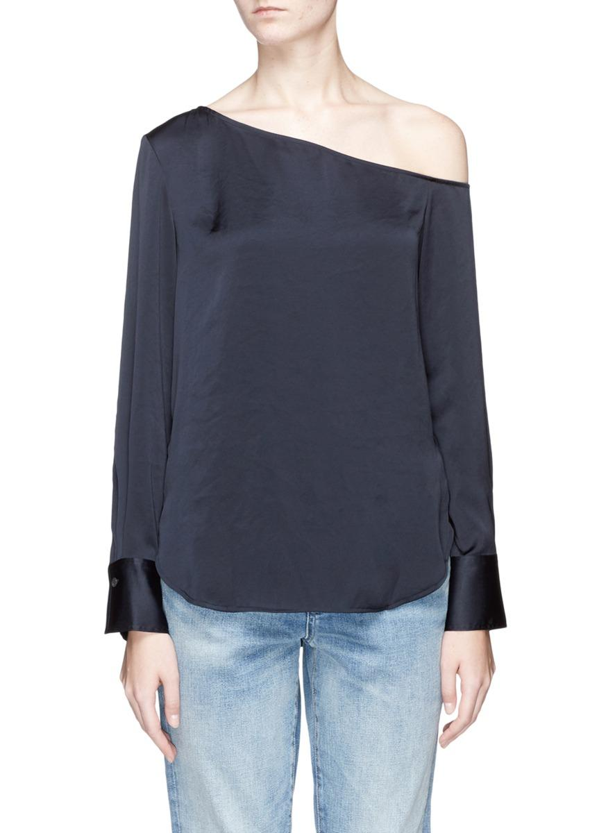 Theory 'Ulrika 2' One-Shoulder Satin Blouse