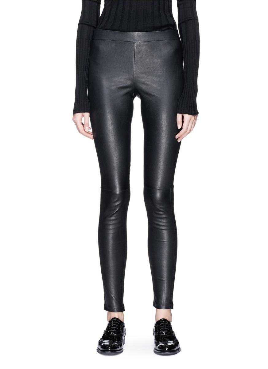 Theory 'Adbelle L2' Lambskin Leather Leggings