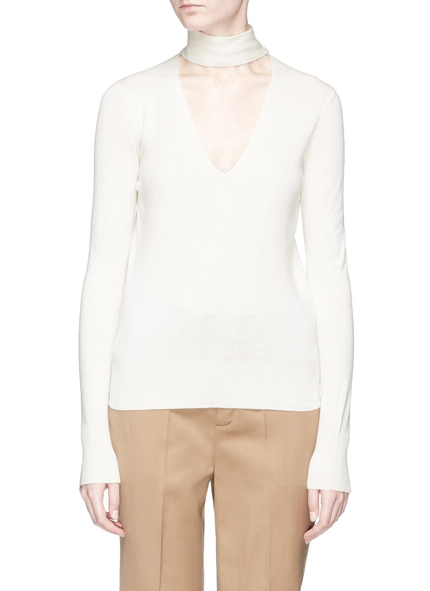 Theory Button Collar Cutout V-Neck Silk Blend Sweater