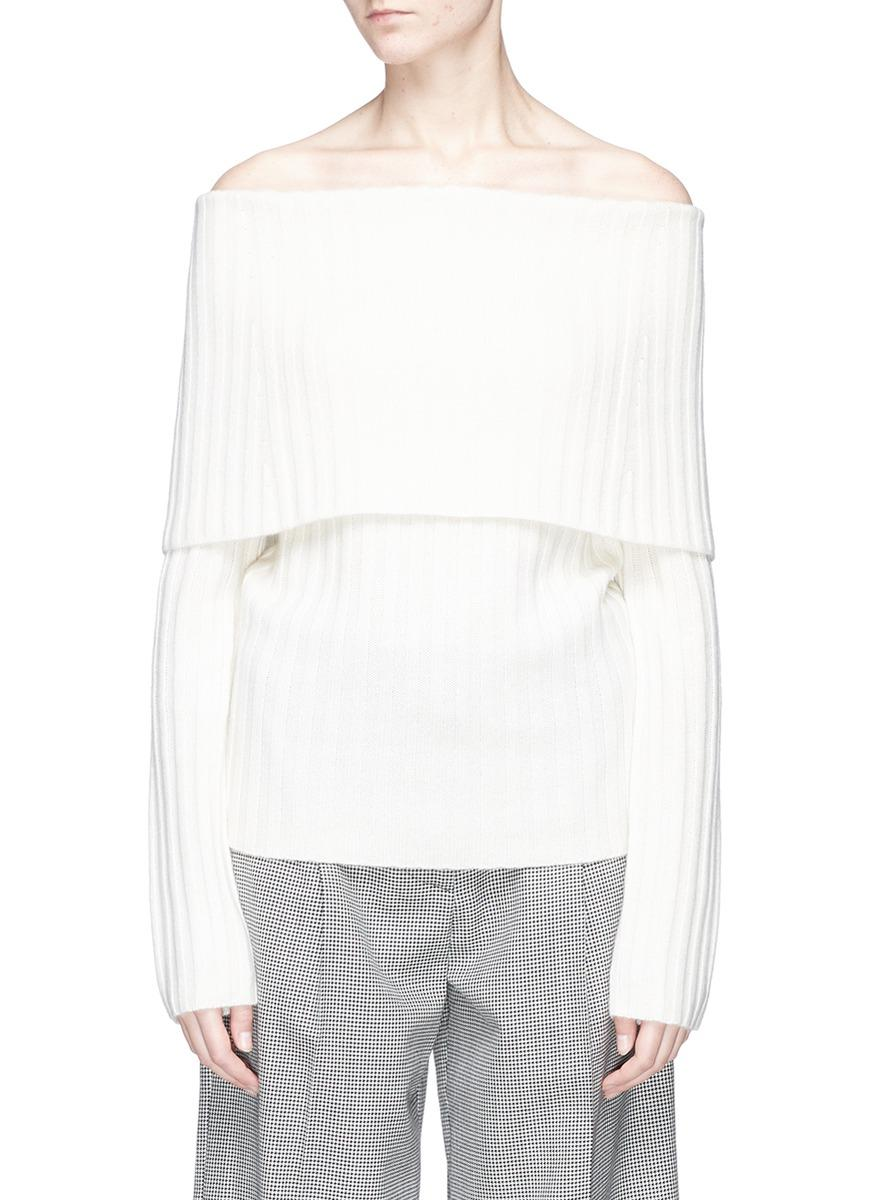 Theory Off-Shoulder Cashmere Sweater