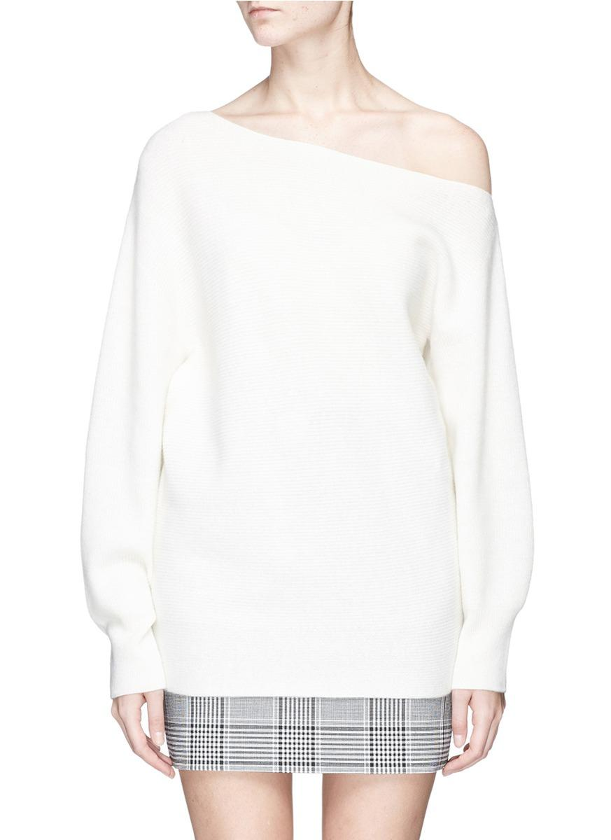 Theory One-Shoulder Merino Wool Sweater