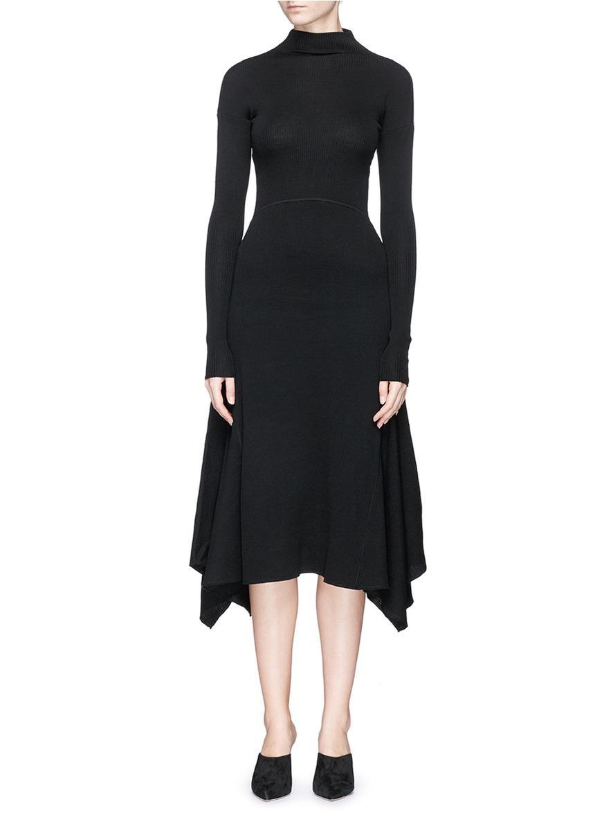 Theory Panelled Virgin Wool Blend Knit Dress