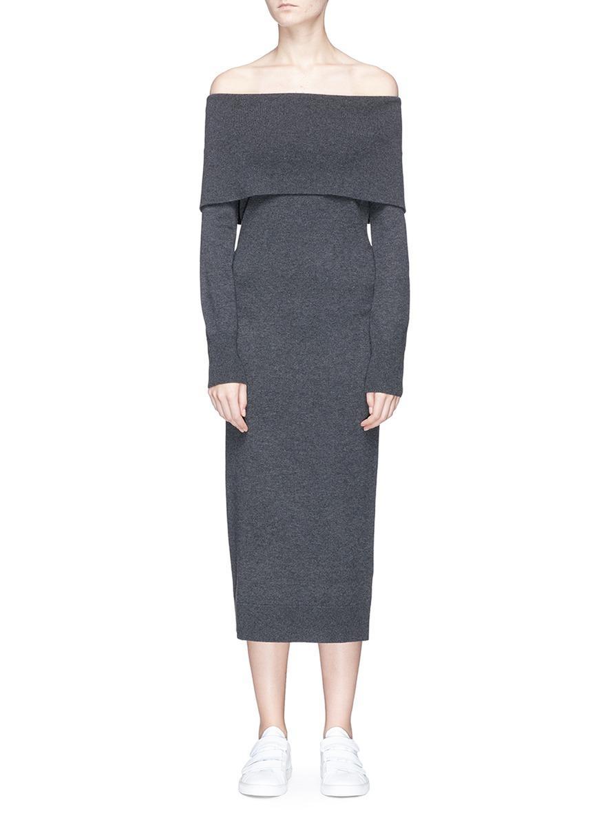 Theory Off-Shoulder Merino Wool Knit Dress