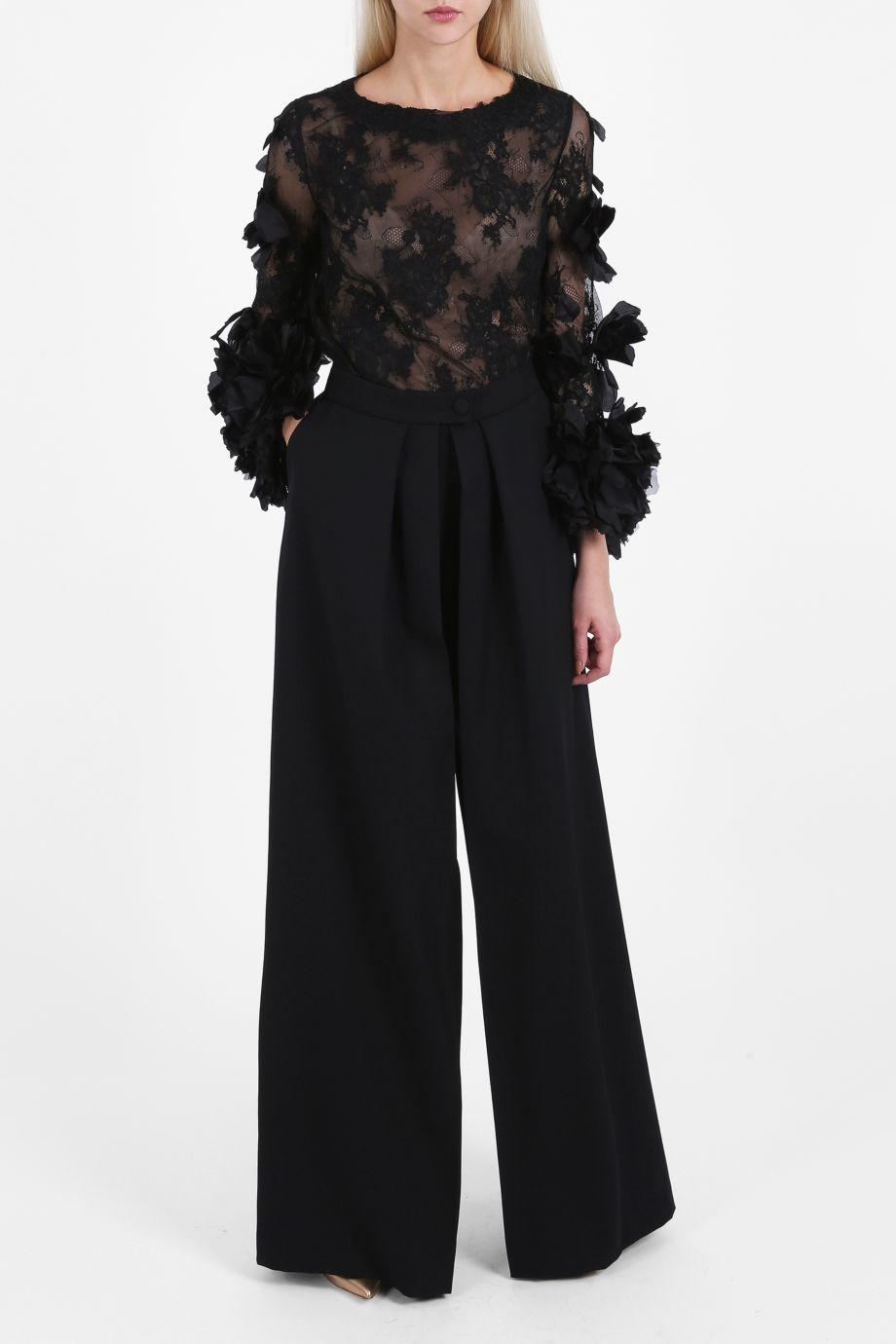 Marchesa Couture Organza Flowers Lace Top