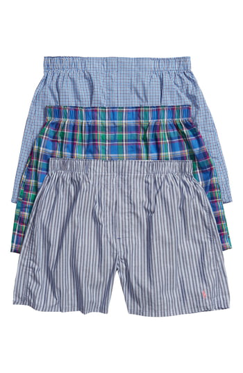 Polo Ralph Lauren Assorted 3-Pack Woven Cotton Boxers In Moore Plaid/ Weston/ Boston