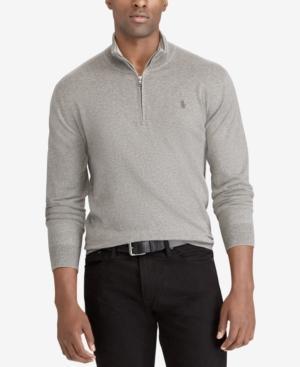 Polo Ralph Lauren Men's Big & Tall Half-Zip Sweater In Fawn Grey Heather