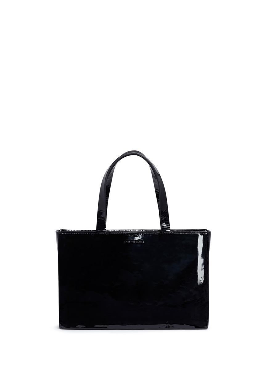 Helmut Lang Boxy Patent Lambskin Leather Bag