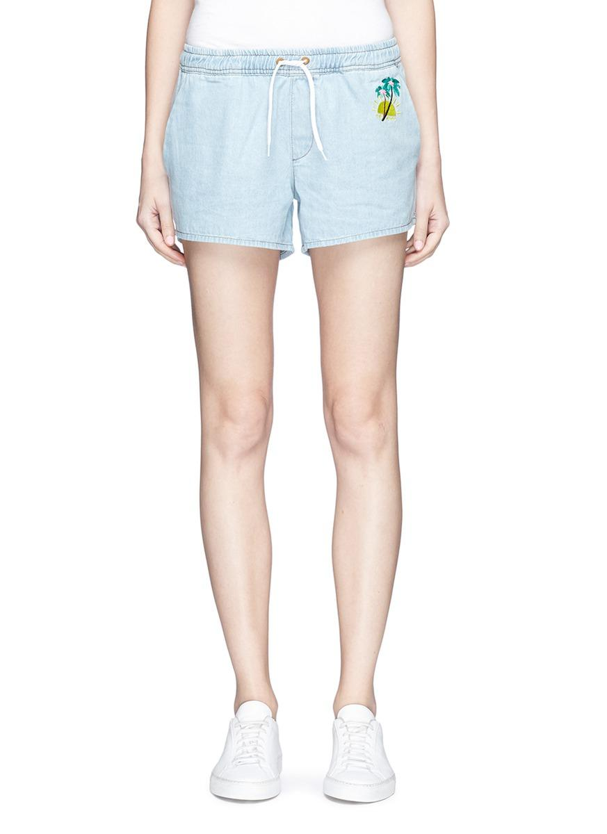 Etre Cecile Palm Tree Embroidered Cotton Shorts