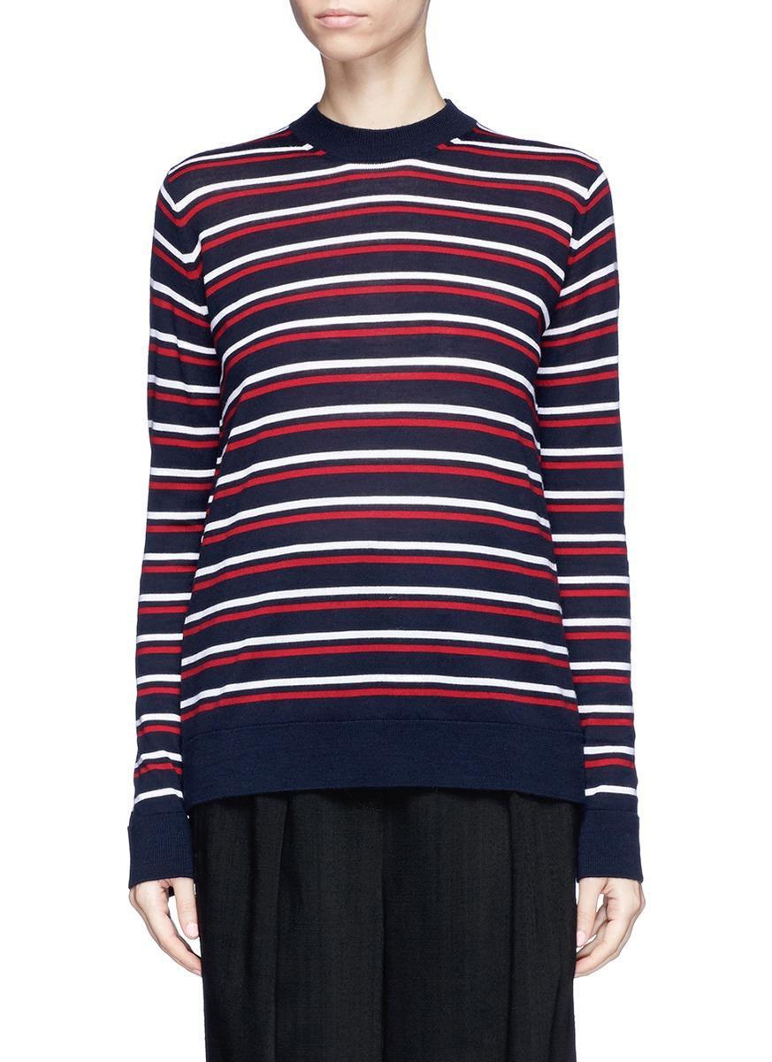 Etre Cecile Stripe Merino Wool Boyfriend Sweater In Marine Blue/ Red/ White