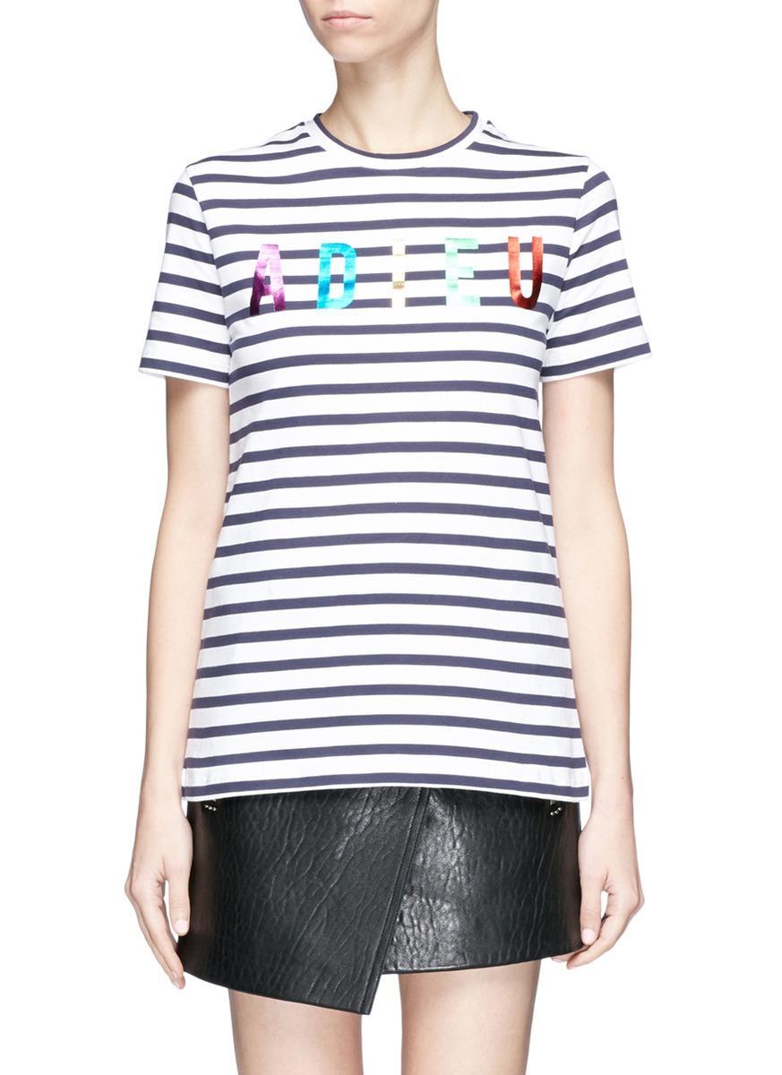 Etre Cecile 'Adieu' Metallic Foil Print Stripe T-Shirt