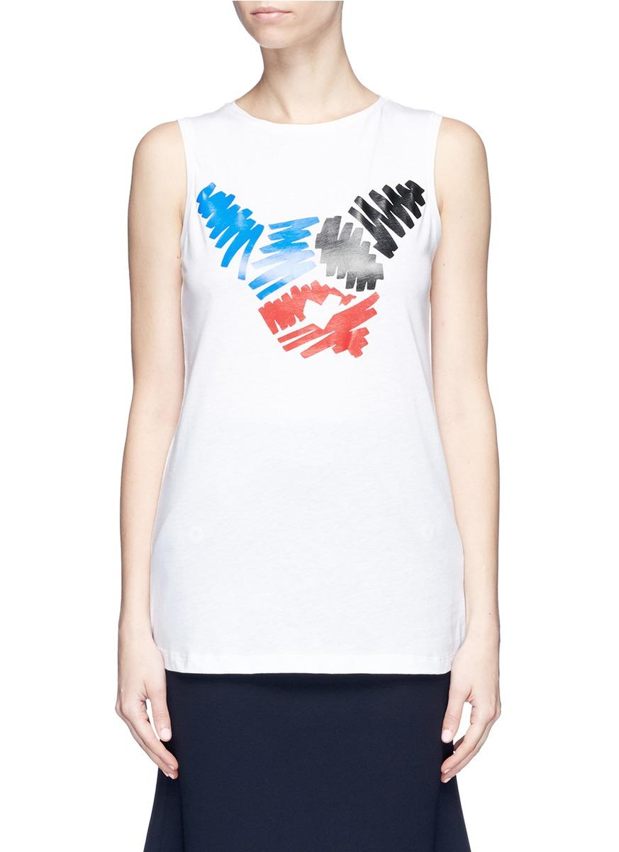 Etre Cecile Slogan And Scribble French Bulldog Print Tank Top