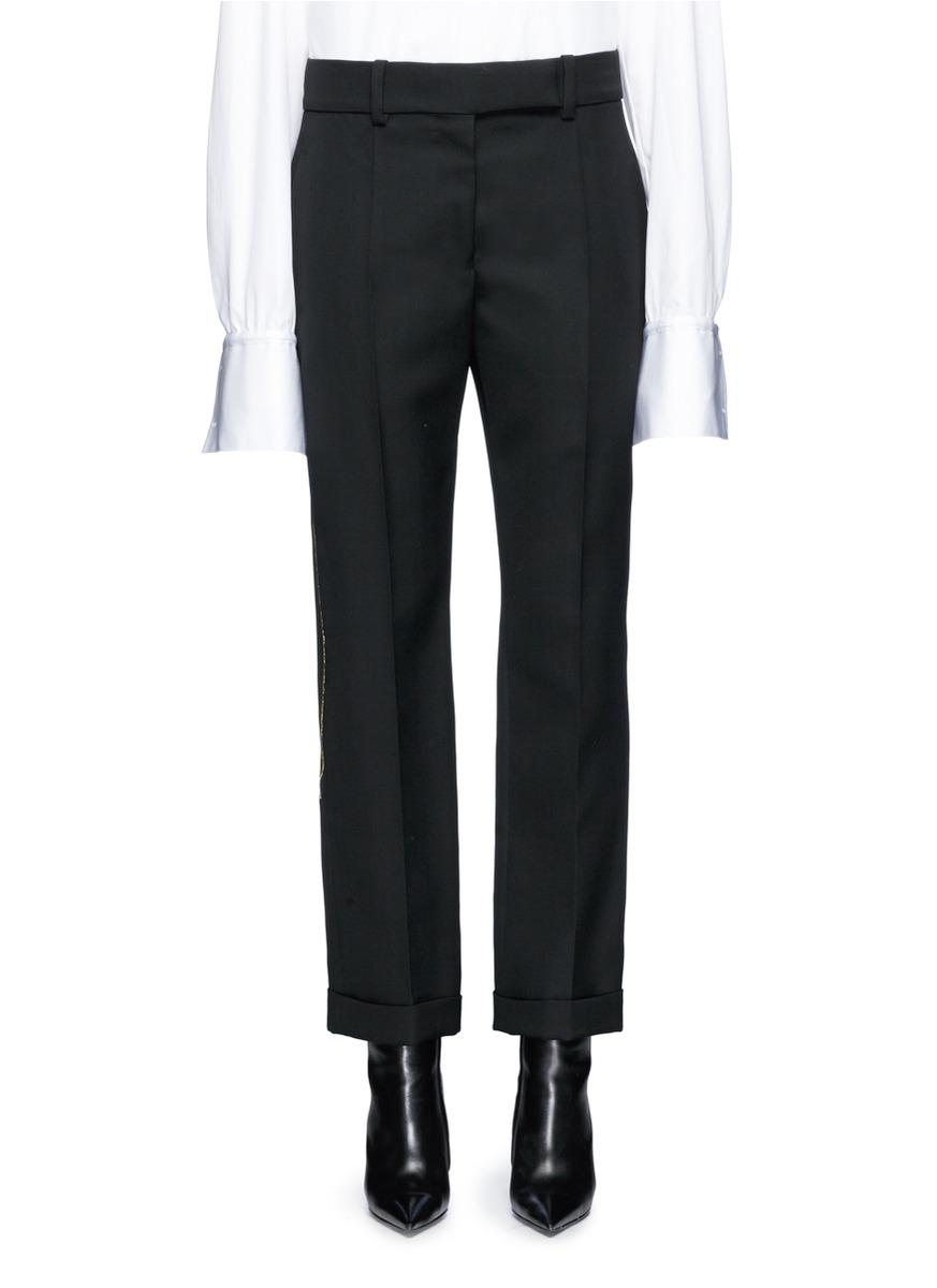 Haider Ackermann Embroidered Virgin Wool Cropped Pants