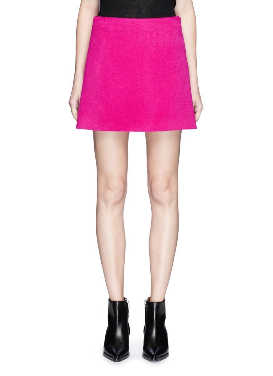 Helmut Lang Brushed Alpaca-Virign Wool Mini A-Line Skirt