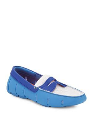 Swims Moc Toe Penny Loafers In Royal