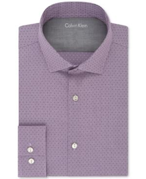 Calvin Klein X Men's Extra-Slim Fit Thermal Stretch Performance Violet Dot Dress Shirt