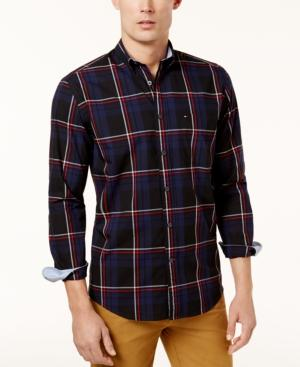 Tommy Hilfiger Men's Classic-Fit Darren Plaid Shirt, Created For Macy's In Peacoat