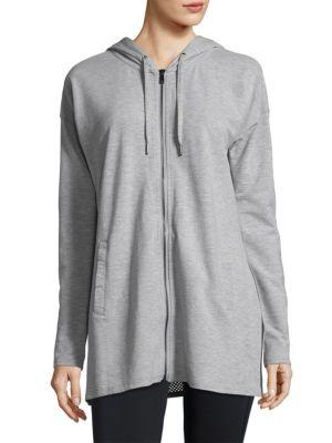 Nanette Lepore Zip-Front Hooded Tunic Hoodie In Grey Heather