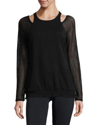 Nanette Lepore Mesh-Sleeve Cold-Shoulder Top In Black