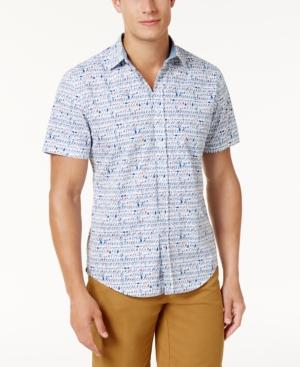 Tommy Hilfiger Men's Custom-Fit Script-Print Shirt In Bright White