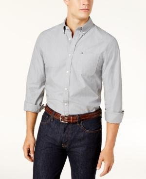 Tommy Hilfiger Men's Custom-Fit Gibson Chambray Shirt In Grey