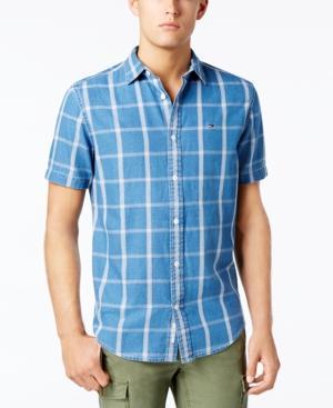 Tommy Hilfiger Men's Classic-Fit Windowpane Plaid Shirt In Blue