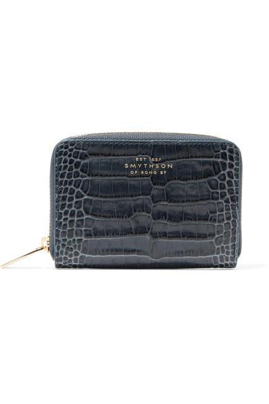 Smythson Mara Crocodile-Printed Calf Leather Zipper Coin Purse In Storm Blue
