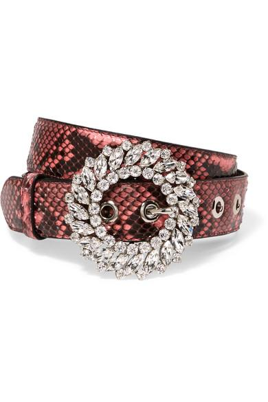 Miu Miu Crystal-Embellished Python Belt