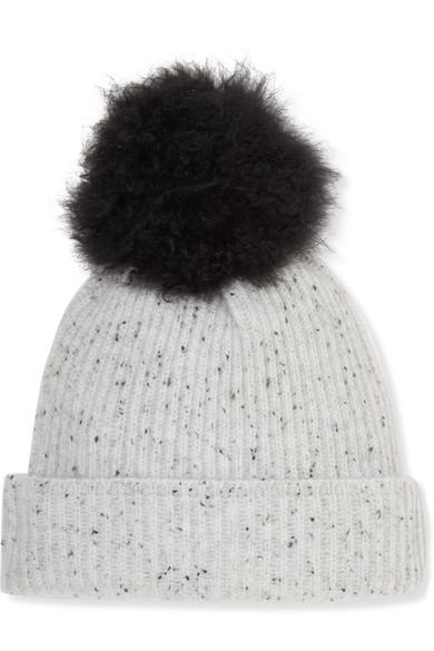 Karl Donoghue Pompom-Embellished Ribbed Cashmere Beanie In Gray