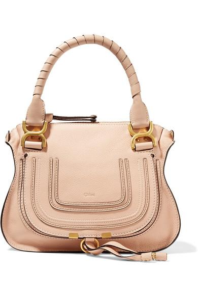 ChloÉ Marcie Small Textured-Leather Tote In Blush
