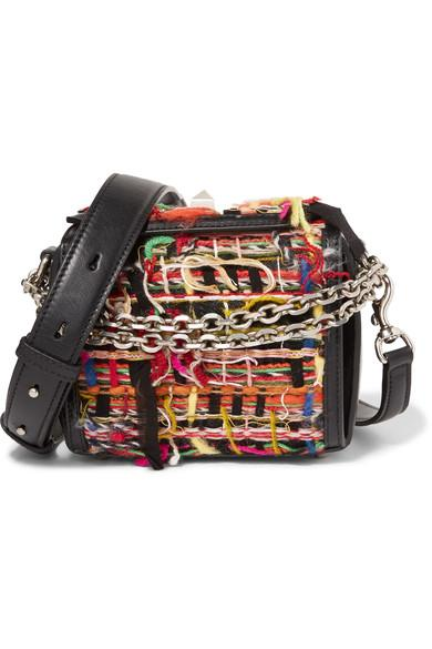 Alexander Mcqueen Box Bag 16 Small Fringed Tweed Shoulder Bag In Multicolor