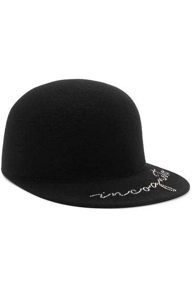 Eugenia Kim Bo Crystal-Embellished Wool-Felt Cap In Black