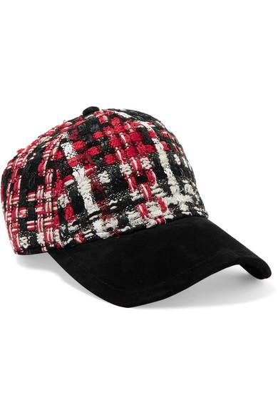 Rag & Bone Marilyn Leather-Trimmed Tweed And Suede Baseball Cap