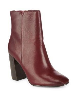 Frye Mina Leather Booties In Bordeaux