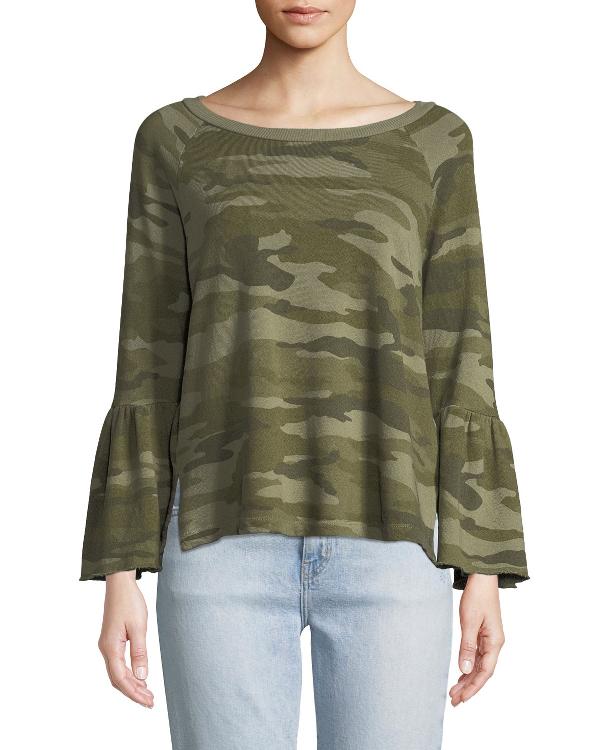 Current Elliott Current/Elliott The Ruffle-Sleeve Camouflage Sweatshirt In Green